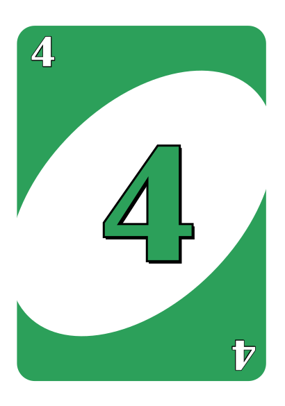 Green Four Uno Card